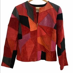 Vintage 70s style Patchwork Leather Jacket
